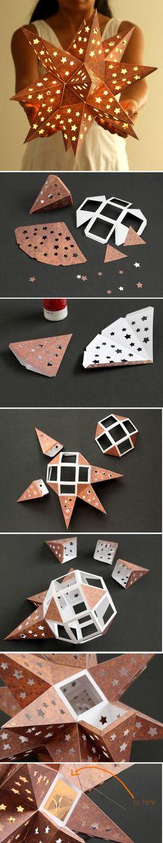 laternen basteln   laterne stern aus braunem papier selber machen