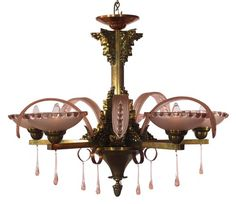French Art Deco Chandelier with Peach Glass