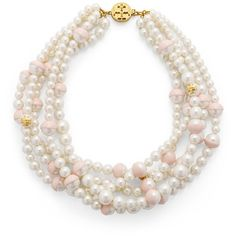 Tory Burch Dipped Evie Statement Necklace ($207) ❤ liked on Polyvore featuring jewelry, necklaces, pink, pearl statement necklace, twisted necklace, pearl jewelry, jewel necklace and multi-chain necklace