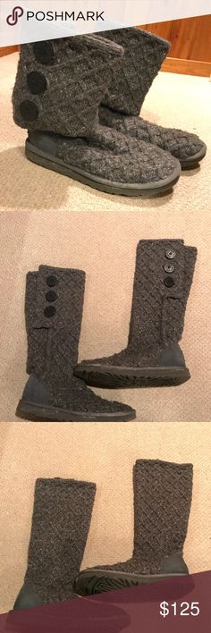Women's UGG Classic Gray Cardy Boots These super comfy UGG's were worn a handful of times & are in very good condition! They can be worn three different ways: all the way up, slouched down, or folded over.  There are some salt stains on the sole from wearing these outside!  I am generally a size 7.5 or 8 & these are a 7 and fit perfectly!  Features: •Sweater knitted material  •Suede heel •3 wooden buttons •UGGpure wool insole •Cuffable shaft •Treadlite by UGG outsole UGG Shoes Winter & Rain…