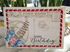 Stampin' Up! Post Card - CASE week dag 5 - SU - Butterfly Basics & Die