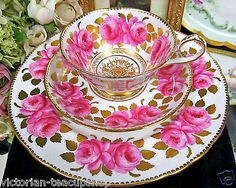 RARE ROYAL CHELSEA TEA CUP AND SAUCER TRIO CABBAGE ROSE GOLD GILT CUP & SAUCER