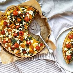 Buckwheat Quiche with Pumpkin, Spinach, Basil, Feta and Cherry Tomatoes