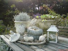 Garden decor in white #white #garden #pumpkin