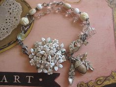 First Frostvintage jewelry assemblage bridal by originalnoell, $45.00