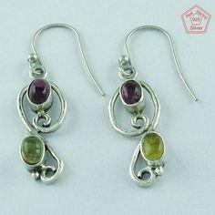 Turmulin Stone 925 Sterling Silver Gorgeous Design Earrings Supplier India E2850 #SilvexImagesIndiaPvtLtd #DropDangle