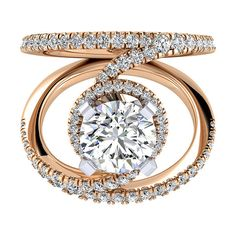 "Gabriel ""Nova"" 14K Rose Gold Contemporary Split Shank Diamond Halo Engagement Ring Featuring 0.68 Carats Round Cut Diamonds. Style ER13010R4T44JJ"
