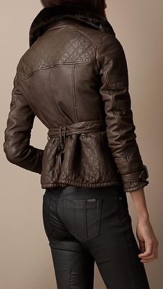 Burberry - Shearling Collar Quilted Leather Jacket