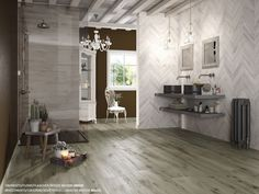 Woodie wood-effect porcelain stoneware Travertine, Wall Tiles, Stoneware, Tile Floor, Flooring, Living Room, Interior Design, Wood, House