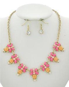 Matte Gold Tone / Peach & Pink Acrylic / Lead&nickel Compliant / Fish Hook (earrings) / Necklace & Earring Set