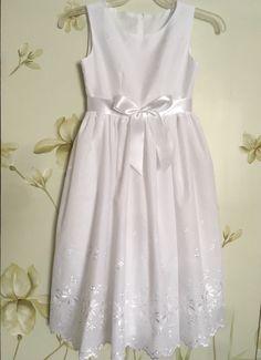 ffd9f76625c Flower Girl First Communion Dress White Eyelet Optional Cap Sleeve Custom  Order Size 2-12