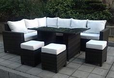 New Deluxe UV Rattan Outdoor Corner Sofa Dining Set Garden Furniture Table and Stools By Limitless Base - Garden Rattan Furniture Rattan Garden Corner Sofa, Corner Sofa Dining Set, Rattan Garden Furniture, Rattan Sofa, Table Furniture, Outdoor Furniture Sets, Outdoor Decor, Dining Table, Storage Footstool