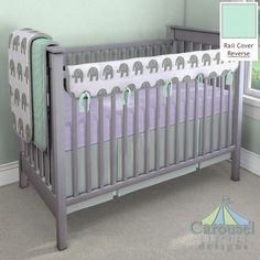Crib bedding in Solid Lilac Minky, White and Gray Elephants, Solid Mint, Solid Cloud Gray. Created using the Nursery Designer® by Carousel Designs where you mix and match from hundreds of fabrics to create your own unique baby bedding. #carouseldesigns