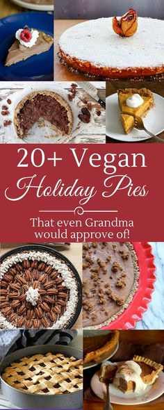 20+ Vegan Holiday Pies perfect for Thanksgiving, Christmas and in between! Many are also gluten-free! | VeganFamilyRecipes.com | #pumpkin pie #vegetarian #dessert #apple pie #pecan pie #gf