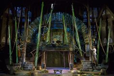 The Heart of Robin Hood. Oregon Shakespeare Festival. The Elizabethan Stage set by designer Michael Ganio and lighted by Mary Louise Geiger, with video projections by Alexander V. Nichols.