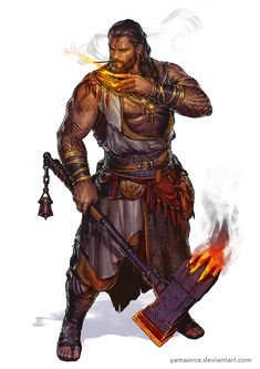 male mage / fighter with flaming axe DnD / Pathfinder character concept spell caster archive of monks / archers / fighters Fantasy Character Design, Character Creation, Character Design Inspiration, Character Concept, Character Art, Concept Art, Fantasy Male, Fantasy Warrior, Fantasy Rpg