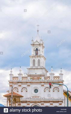 Download this stock image: Low angle view of old cathedral at Cuenca, Ecuador…