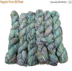 SALE 50g Recycled Sari Silk Ribbon, 25-28 yards , color Aquamarine