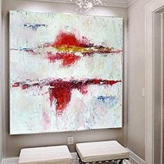Oil Painting Abstract Large White Wall Art Red Abstract Art Original Oil Painting Abstract Wall Art Canvas Abstract Dine Room Wall Art - All For Herbs And Plants Large Abstract Wall Art, Oil Painting Abstract, Large Art, Abstract Canvas, Canvas Wall Art, Painting Canvas, Painting Wallpaper, Grand Art Mural, White Wall Art