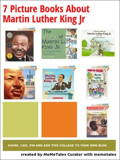 7 Picture Books About Martin Luther King Jr King Picture, Picture Books, Mlk Jr Day, Martin Luther King Day, School Items, King Jr, School Holidays, Reading Activities, Children's Literature