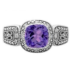 Hey, I found this really awesome Etsy listing at https://www.etsy.com/listing/181478500/cushion-cut-amethyst-white-gold-diamond
