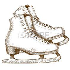 pattinare: Incisione illustrazione antico di scarpe pattinaggio su ghiaccio e…