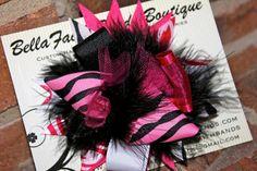 The Girls Hair Bows ! Pink Black White Zebra Animal