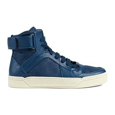 39d70fa9b2c Gucci Men s Blue Nylon Leather GG Guccissima High Top Sneakers Shoes