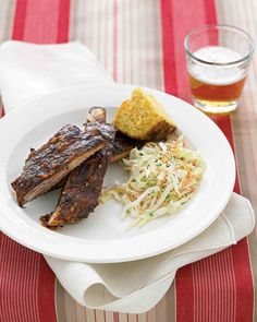 Wrapped in foil, the spiced ribs oven-cook in intense heat; the foil locks in their moisture for supremely tender results. On with the sauce and over to the grill, and they're ready.