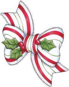 CHRISTMAS BOW AND HOLLY CLIP ART