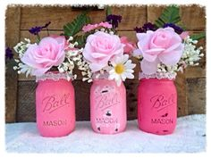 Rustic Hand Painted Mason Jars in Pink Ombre with Pearl Lace. #babyshower #centerpiece