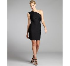 Carmen Marc Valvo black Lurex knit beaded one shoulder dress