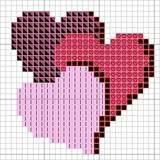 Valentijn ook voor bv ministeck Embroidery Patterns, Crochet Patterns, Cross Stitch Heart, Lovey Dovey, Valentine's Day Diy, Valentine Crafts, Charts, Grid, Stitches