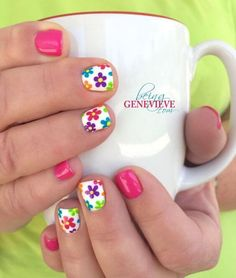 beautiful, bright, cheery and fun nail art design is perfect for any summer or spring manicure. Full tutorial and video on how to create this look is found at Summer Glimpse