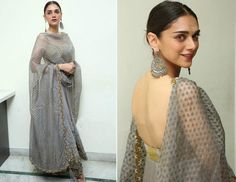 indian designer wear Check out all the desi looks worn by Aditi Rao Hydari for the best designers of B wedding guest look to reception night all in a one post. Ethnic Outfits, Ethnic Dress, Indian Outfits, Indian Clothes, Mehendi Outfits, Indian Look, Indian Ethnic Wear, Indian Style, Pakistani Dresses