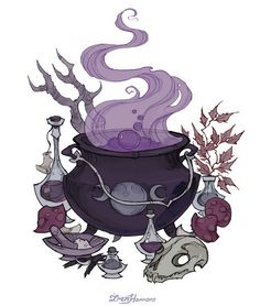 Cauldron with triple moon symbol tattoo idea