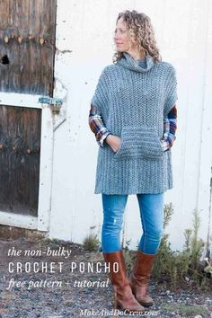 Love this for fall! This simple free crochet poncho pattern is a little more fitted than most, offering a versatile wardrobe staple that's perfect for layering. The pocket and cowl turtleneck crank up the cozy factor!