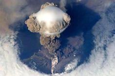 A mushroom cloud from a volcano