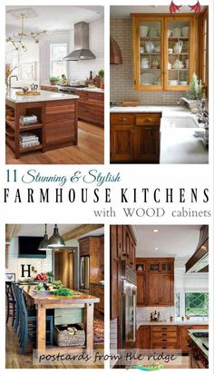 11 Stunning Farmhouse Kitchens That Will Make You Want Wood Cabinets 11 Stunning Farmhouse Kitchens That Will Make You Want Wood Cabinets | Postcards from the Ridge<br> Farmhouse kitchens with wood cabinets Dark Wood Kitchen Cabinets, Dark Wood Kitchens, Oak Cabinets, Home Kitchens, Cherry Cabinets, Walnut Kitchen, Maple Cabinets, Luxury Kitchens, White Cabinets