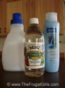 Homemade fabric softener - 6c. hot water, 3c. white vinegar, 2c. Suave Conditioner. Mix conditioner and hot water till dissolved completely. Add vinegar and mix well. Use 2T. in fabric softener spot.