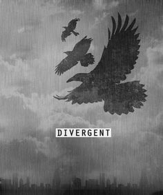 """Divergent. """"Birds,"""" he says. """"Are they crows? I keep forgeting to ask."""" I try to return his smile.    """"Ravens. One for each member of my family,"""""""