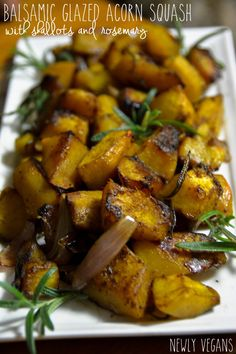 Balsamic roasted acorn squash with shallots and rosemary