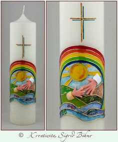 Taufkerze Behütet in Gottes Hand Anlasskerze Kerze von Kreatiwita