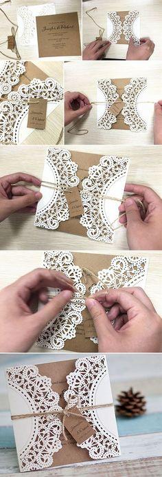 Rustic Laser Cut Wedding Card