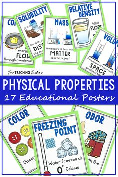 Physical Properties of Matter Anchor Posters - BettieKing 5th Grade Science, Elementary Science, Science Classroom, Teaching Science, Science Activities, Science Experiments, Teaching Ideas, Science Vocabulary, Science Lessons