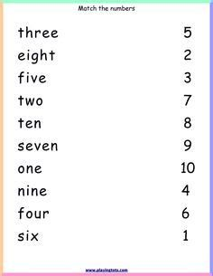 Free Printable Number Matching Worksheets For Kindergarten English Worksheets For Kindergarten, First Grade Math Worksheets, Printable Preschool Worksheets, Reading Worksheets, Kindergarten Reading, Lkg Worksheets, Preschool Names, Numbers Preschool, Learning Numbers
