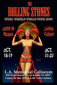 The Rolling Stones & Guns & Roses at Los Angeles Coliseum Concert Poster 1989
