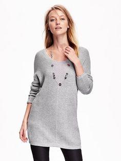 Women's Shaker-Stitch Tunic Sweater Product Image