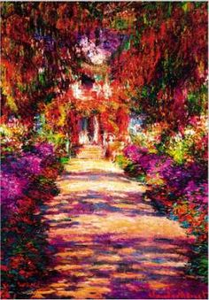 Claude Monet - Chemin dans le jardin de Monet à Giverny est partie de le serie de le huile peintures fini Monet dans Il jardin.  Monet amoureux peinture simple nature.    Claude Monet- pathway in the garden of Monet in Giverny is part of a series of oil paintings done by money in his garden.  Monet enjoyed painting simple nature.