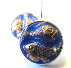 Vintage FISH glass button earrings